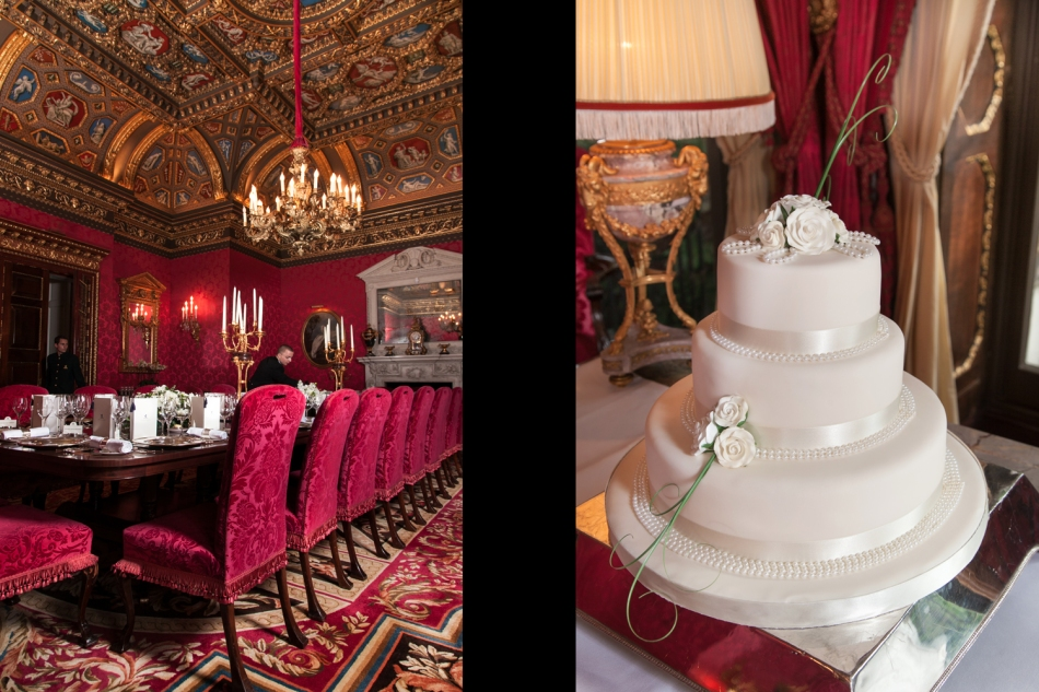 Red dining room & wedding cake